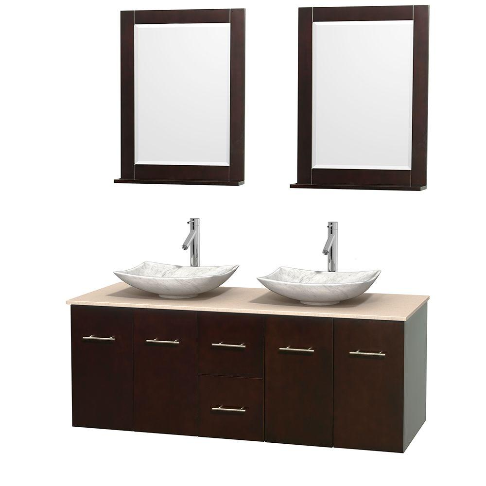 Wyndham Collection Centra 60 in. Double Vanity in Espresso with Marble Vanity Top in Ivory, Carrara White Marble Sinks and 24 in. Mirror