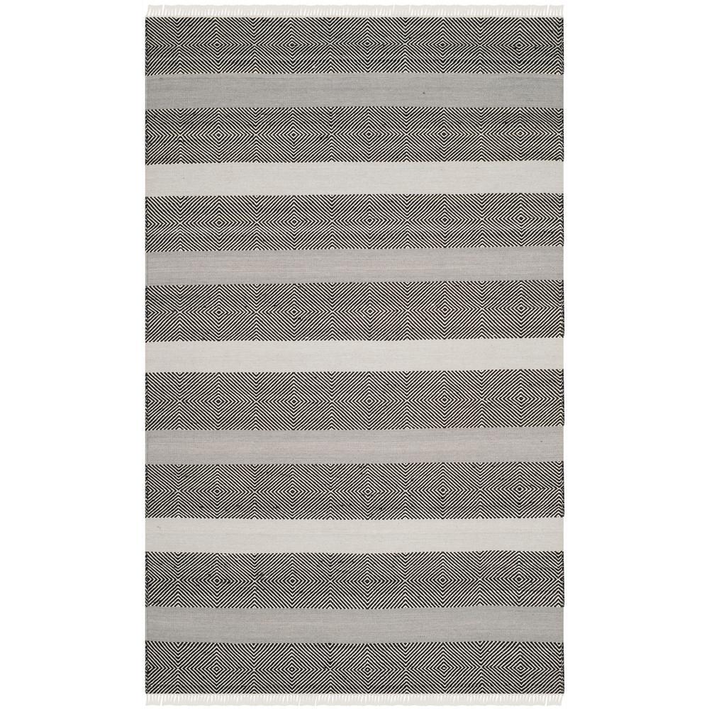 Kilim Gray/Black 5 ft. x 8 ft. Area Rug