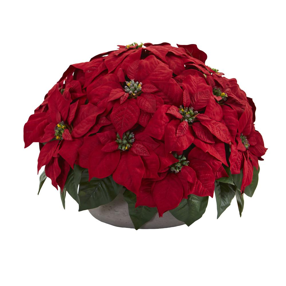 Nearly Natural Indoor Poinsettia Artificial Plant In Stone Planter