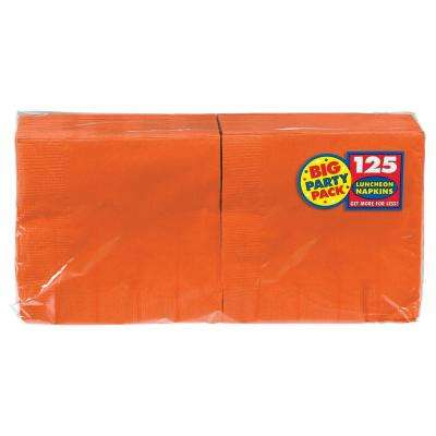 Big Party Pack 6.5 in. x 6.5 in. Orange Paper Birthday Lunch Napkin (125-Count, 4-Pack)