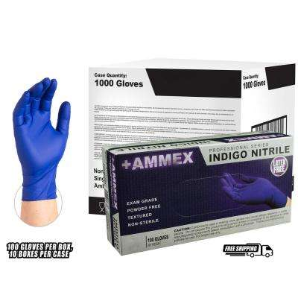 Large 4 mm Large 4 mm Indigo Nitrile Exam Powder Free Disposable Gloves (1000-Case)