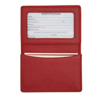 Genuine Leather Business Card Case Wallet, Red