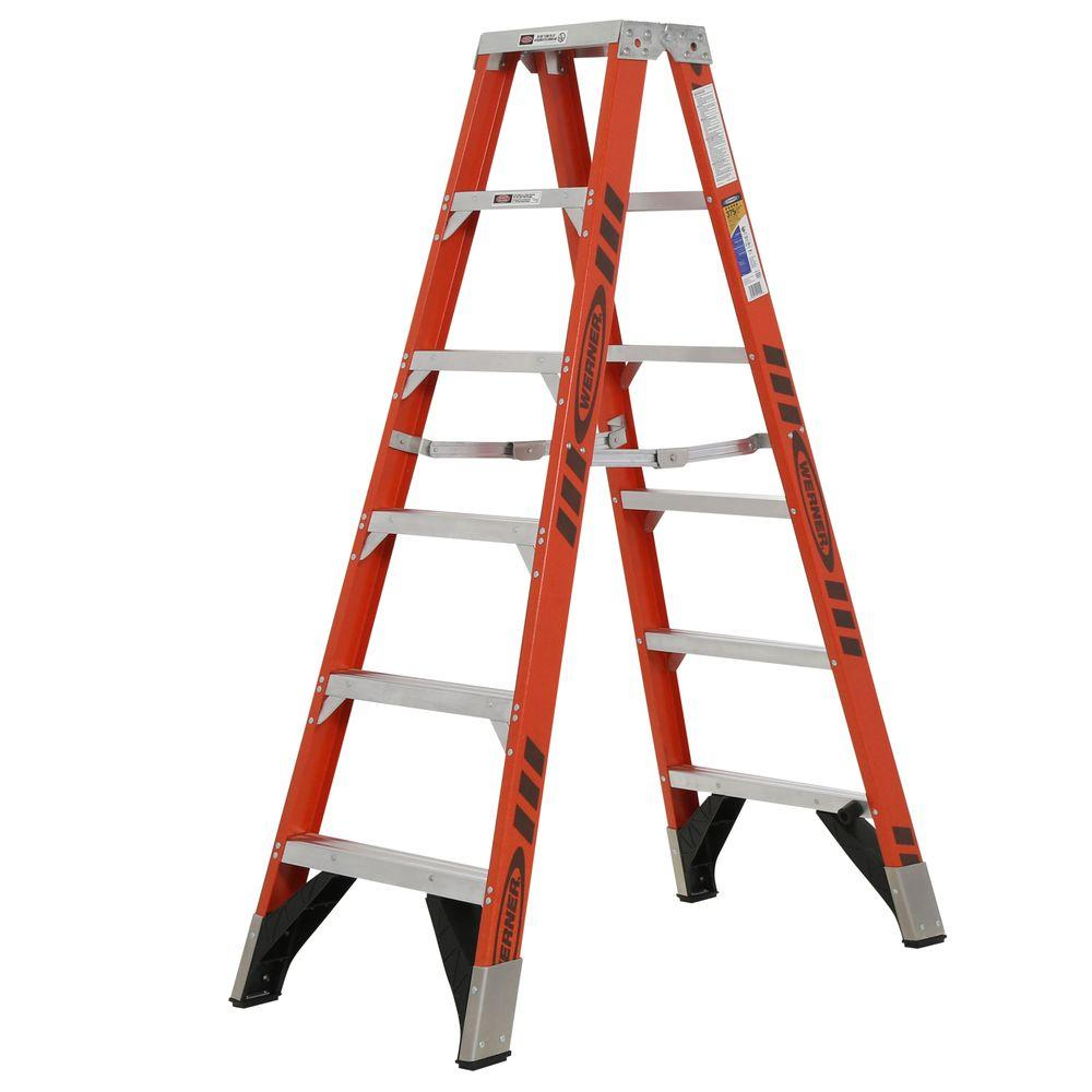 Werner 6 Ft Fiberglass Twin Step Ladder With 375 Lb Load