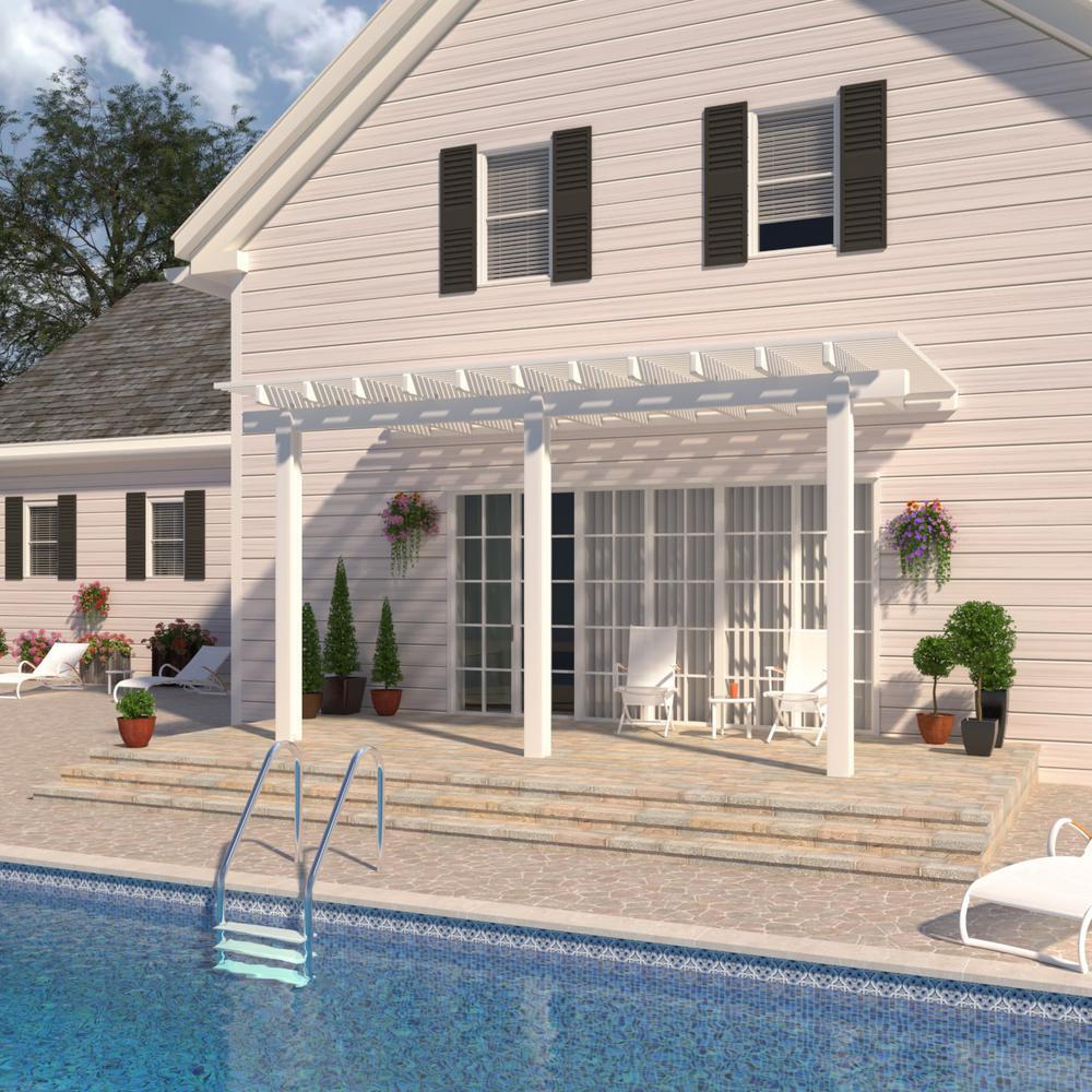 14 ft. x 10 ft. White Aluminum Attached Open Lattice Pergola with 3 Posts Maximum Roof Load 10 lbs.