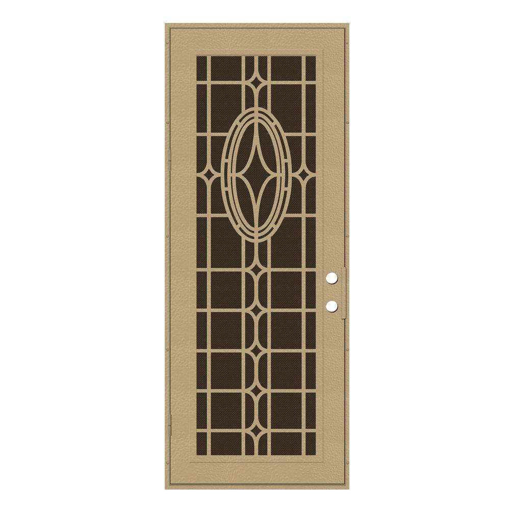 Unique Home Designs 36 in. x 96 in. Modern Cross Desert Sand Left-Hand Surface Mount Aluminum Security Door with Brown Perforated Screen