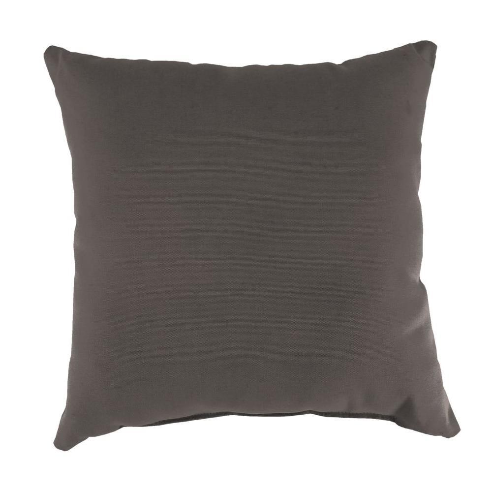 Sunbrella Canvas Coal Square Outdoor Throw Pillow