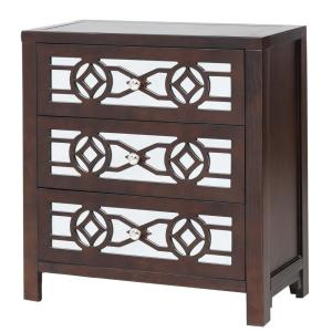 Espresso Natural Wooden Storage Accent Cabinet with 3-Drawers and Decorative Mirror