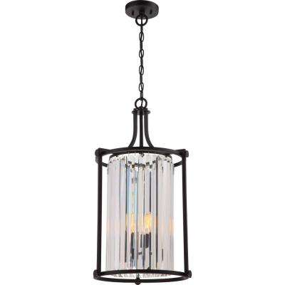 4-Light Aged Bronze Chandelier with White Fabric Shade