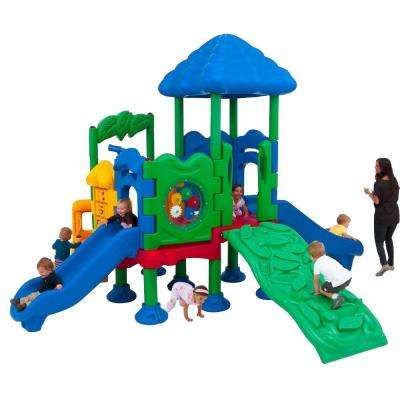 Discovery Center Commercial Playground 4 Deck with Roof Ground Spike Mounting