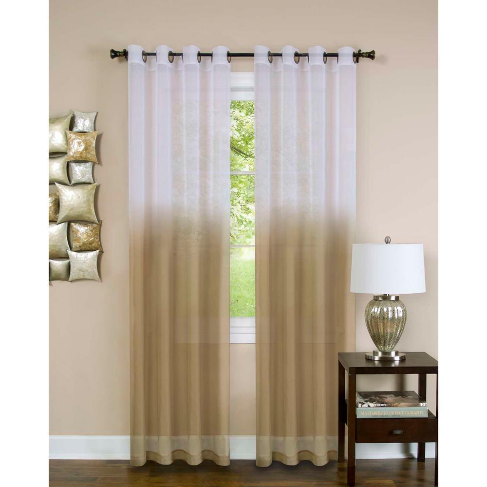 Sheer Essence Tan Window Curtain Panel - 52 in. W x 63 in. L