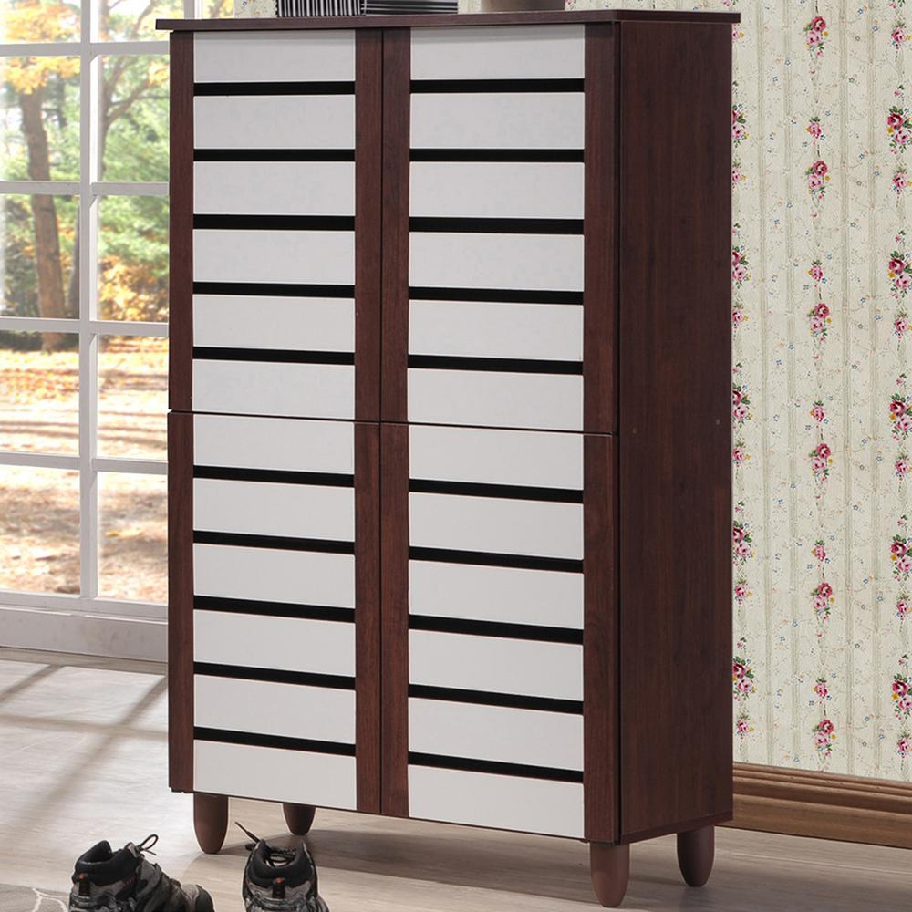Baxton Studio Gisela White And Medium Brown Wood Wide Tall Storage