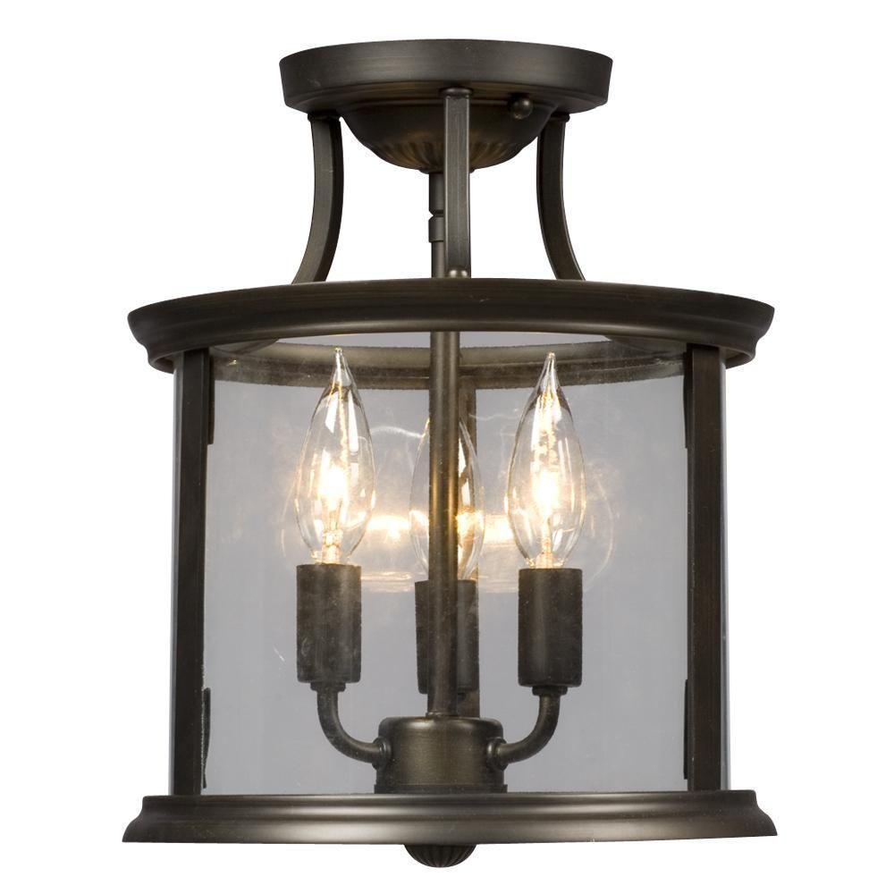 Filament Design Negron 3-Light Oil-Rubbed Bronze Incandescent Semi-Flush  Mount Light