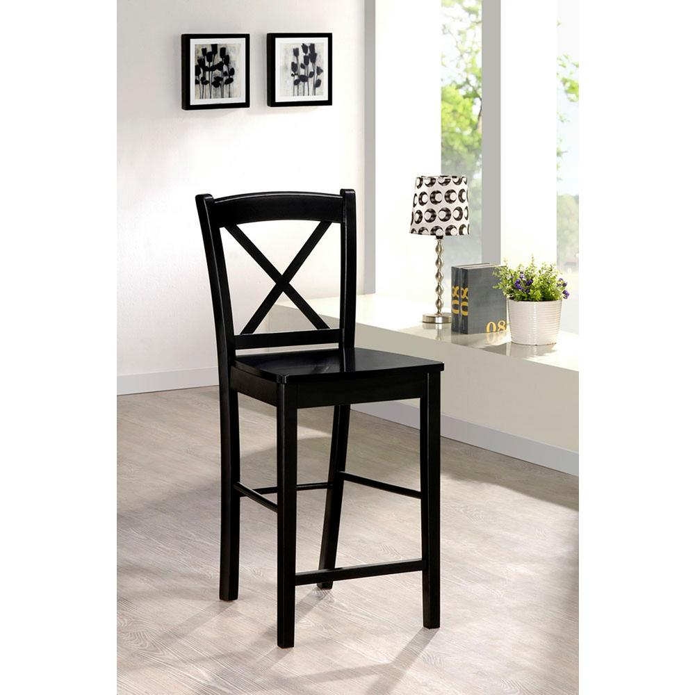 Superb Linon Home Decor X Back 30 In. Black Bar Stool
