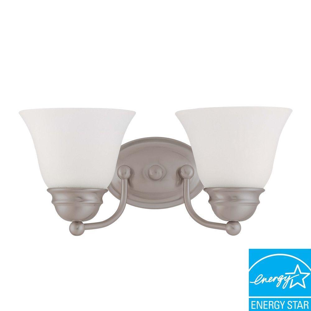 2-Light Brushed Nickel Vanity Light