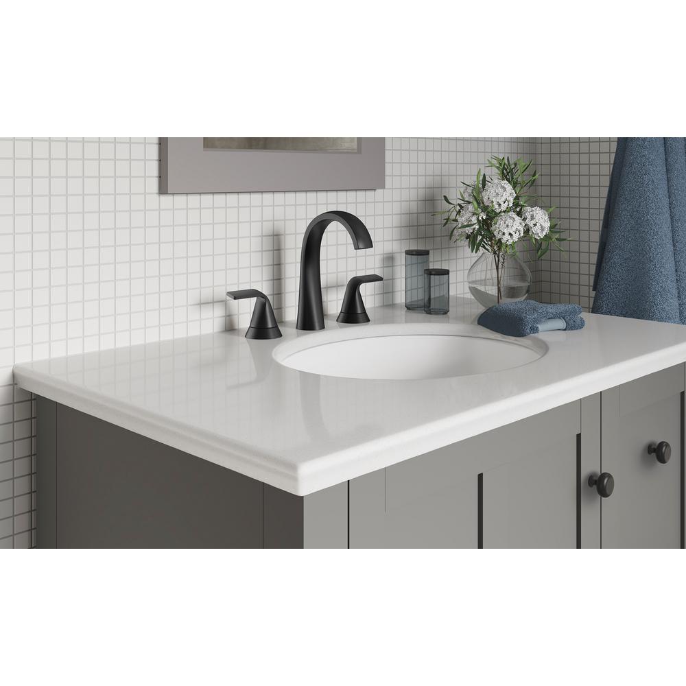 Cursiva 8 in. Widespread 2-Handle Bathroom Faucet in Matte Black