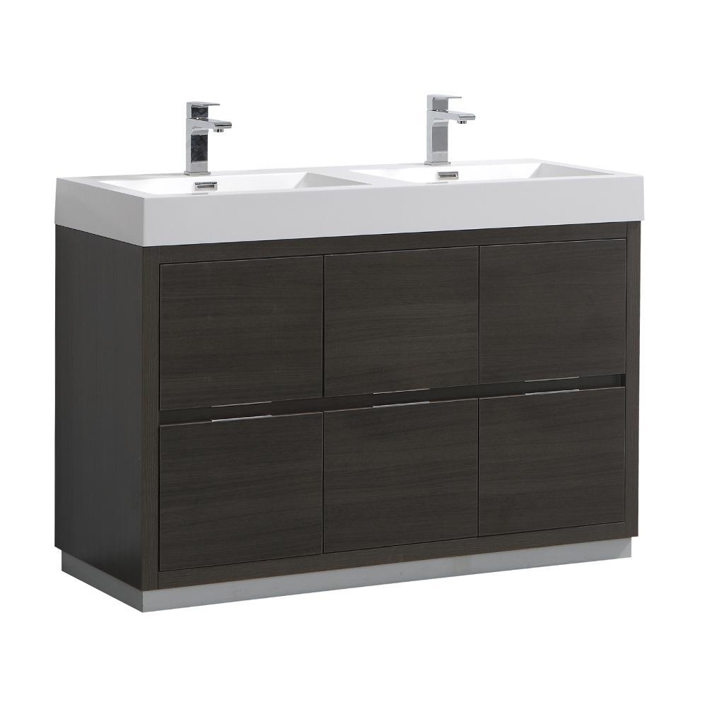 Valencia 48 in. W Bathroom Vanity in Gray Oak with Acrylic Vanity Top in White