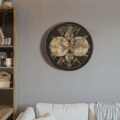 Wealth of Wonder Black and Gold Round Wall Clock