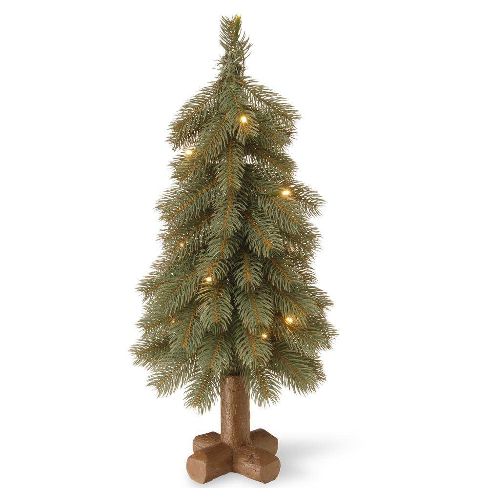 National Tree Company 24 in. Feel-Real Bayberry Blue Cedar Tree with Battery Operated LED Lights