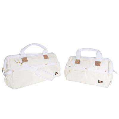 16 in. and 20 in. Soft Sided Construction Work Tool Bags, Combo Pack, White