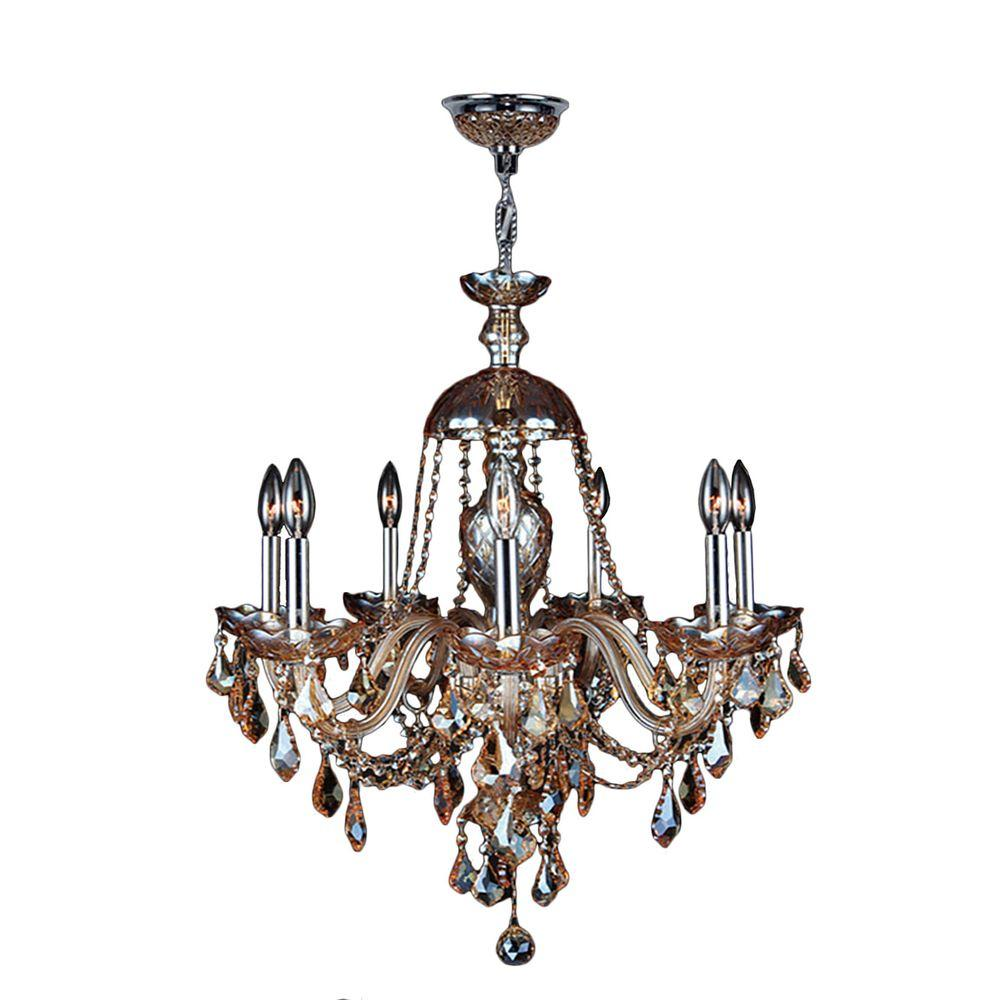 Worldwide lighting provence collection 7 light polished chrome and worldwide lighting provence collection 7 light polished chrome and amber crystal chandelier aloadofball Gallery