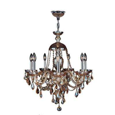 Provence Collection 7-Light Polished Chrome and Amber Crystal Chandelier