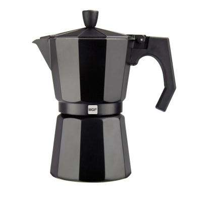 Kenia Noir 3-Cups Aluminum Expresso Coffee Maker in Black