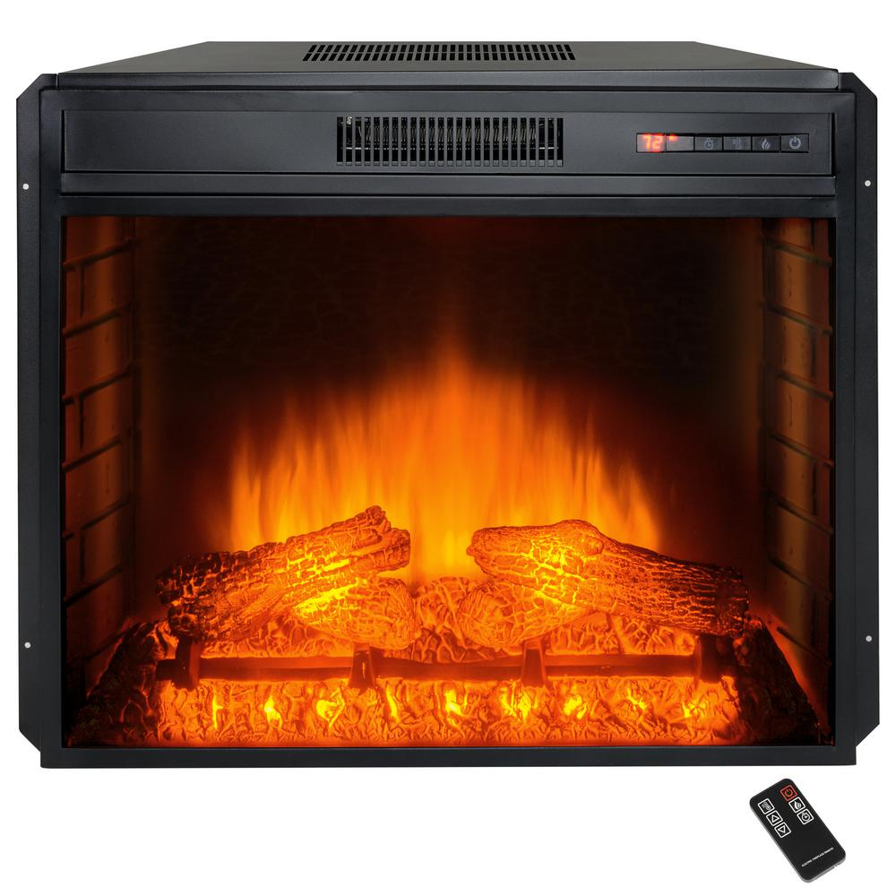 28 in electric fireplace insert heater with tempered