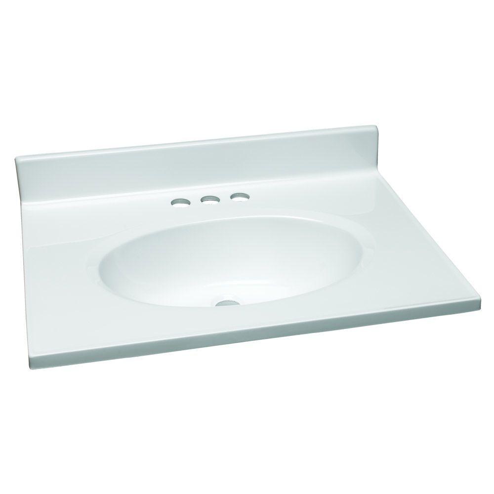 W Cultured Marble Vanity Top In White With Solid Bowl Sink Bowls On Top Of Vanity H32