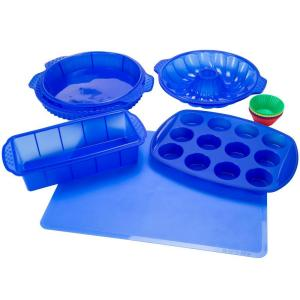 Click here to buy Trademark 11 inch x 1.5 inch Silicone Bakeware Set in Blue (18-Piece) by Trademark.