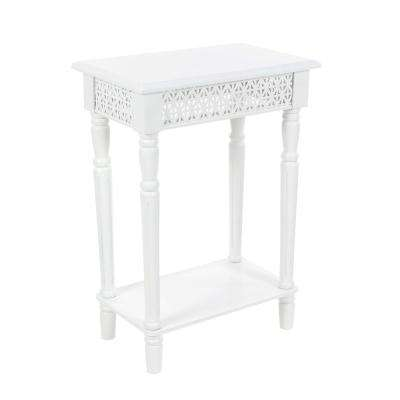 Vintage White Side Table with Decorative Panels