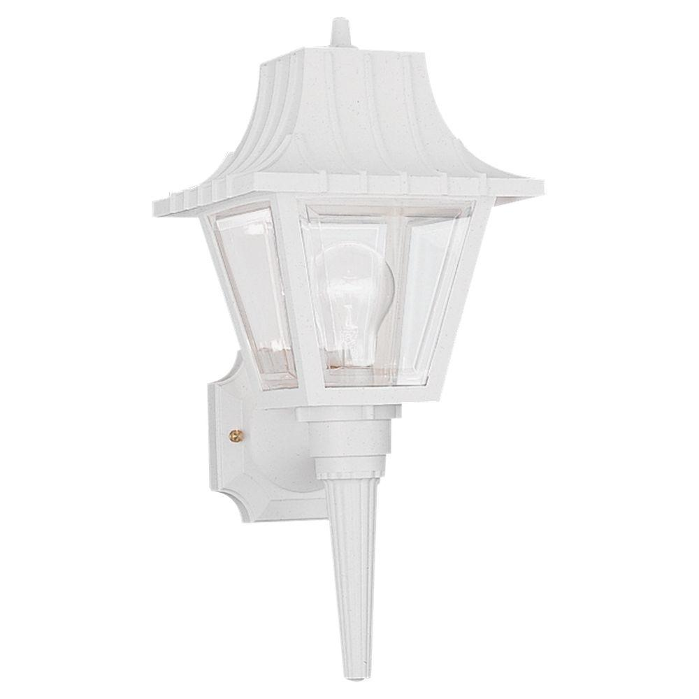 Polycarbonate 1-Light White Outdoor Wall Fixture