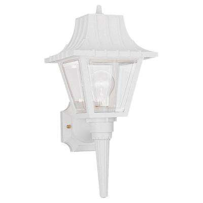 Polycarbonate 1-Light White Outdoor Wall Lantern Sconce