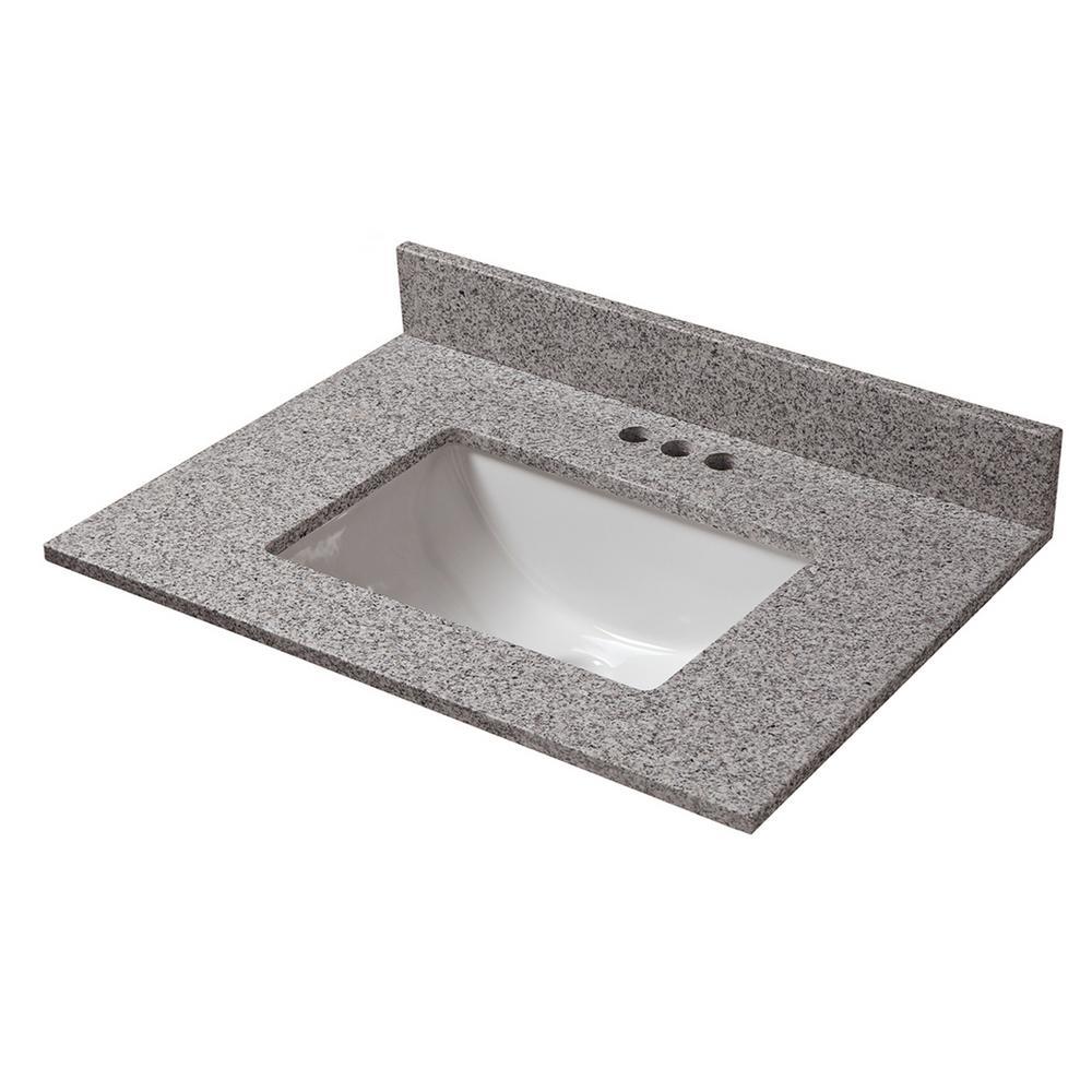 25 in. D x 19 in. W Granite Vanity Top in Napoli with White Single Trough Basin