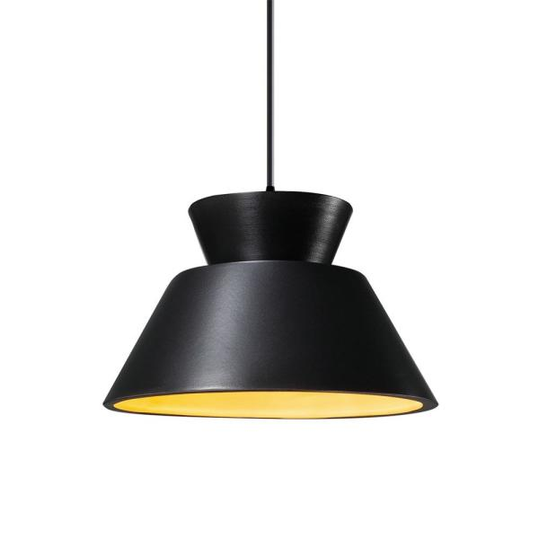 Radiance Trapezoid 1-Light Matte Black Pendant with Carbon Matte Black/Champagne Gold Shade