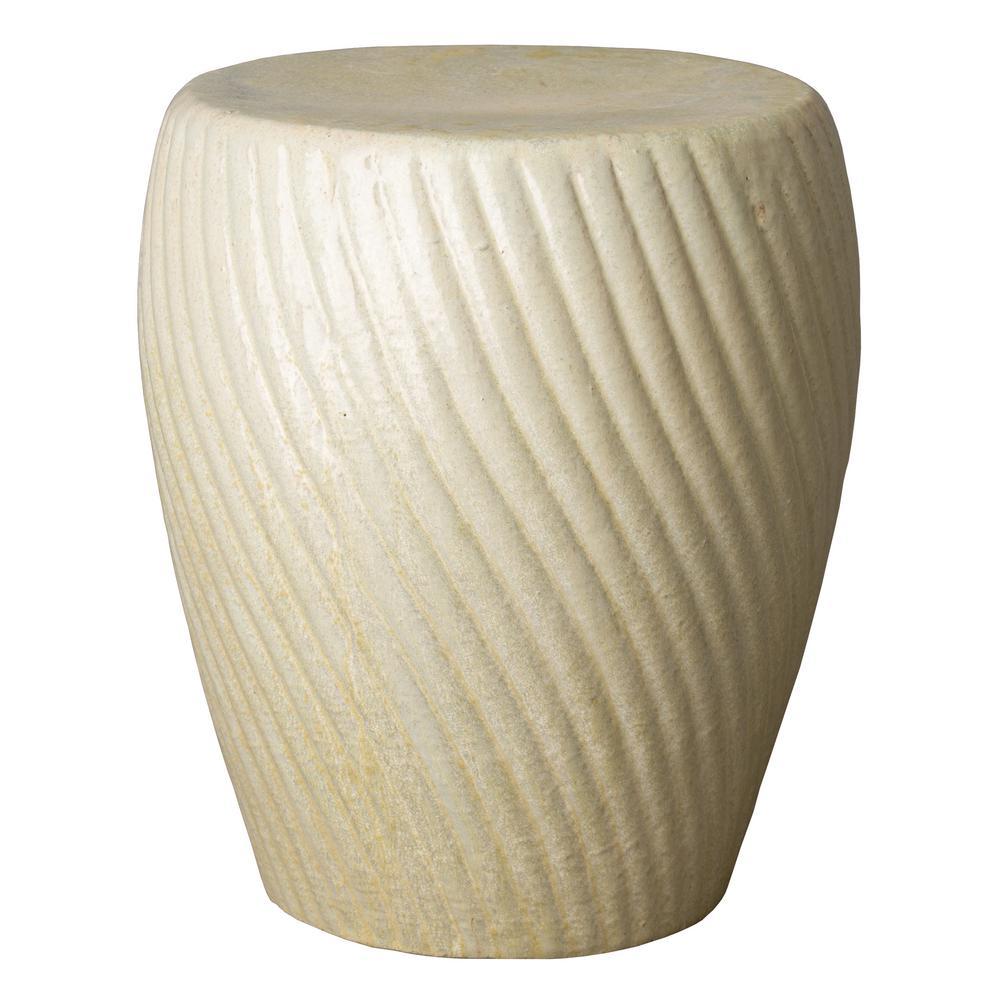 Spiral Champagne Ceramic Garden Stool