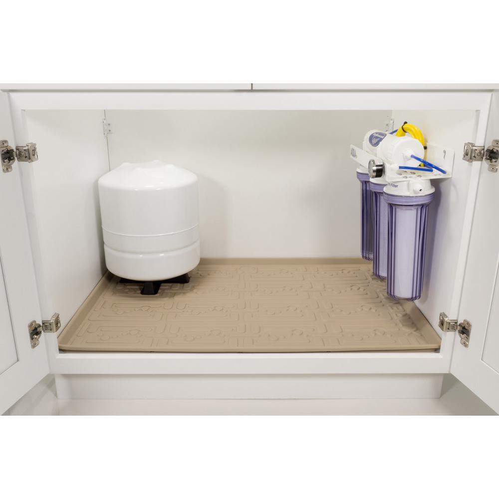 Beige Kitchen Depth Under Sink Cabinet Mat Drip Tray Shelf Liner 30 5 8 In X 21 7