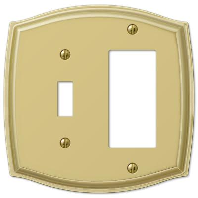 Vineyard 2 Gang 1-Toggle and 1-Rocker Steel Wall Plate - Polished Brass