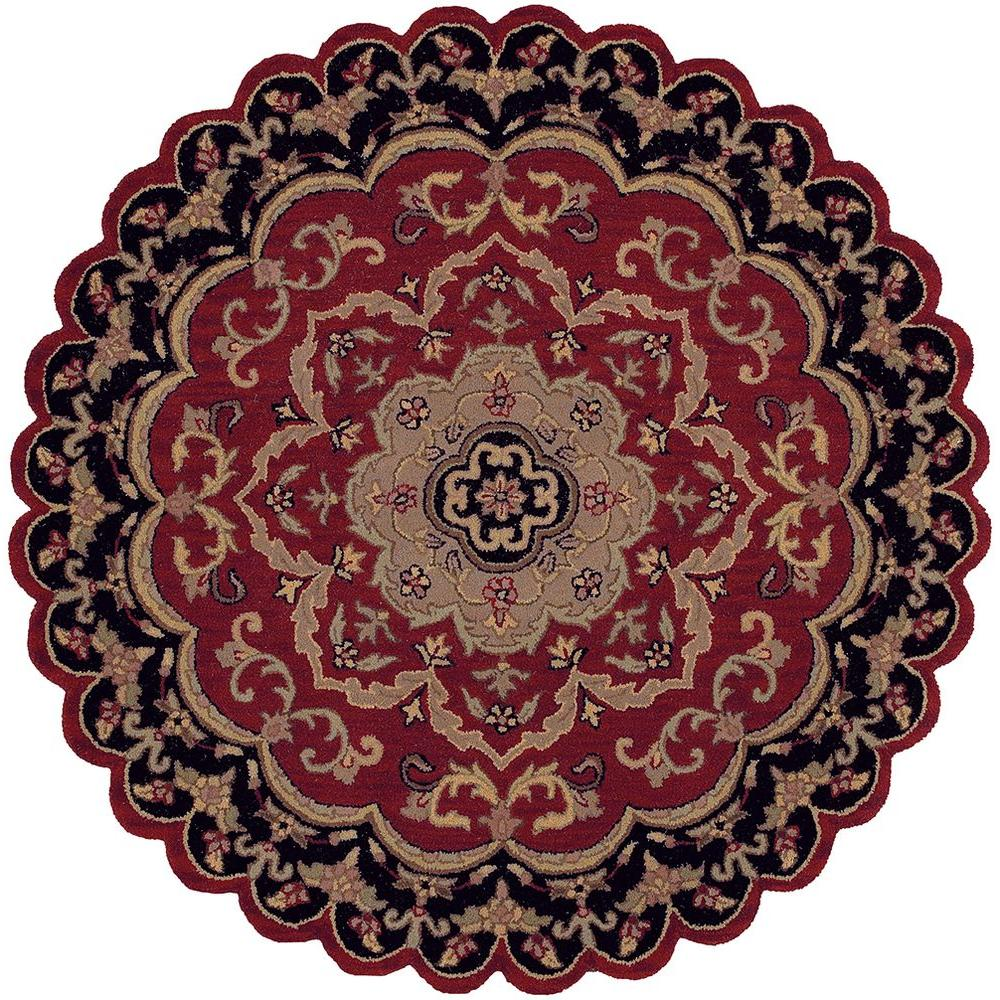 LR Resources Traditional Shape Red and Black 5 ft. Star Plush Indoor Area Rug