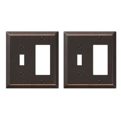 Century Steel 1 Toggle 1 Decora Wall Plate in Aged Bronze (2-Pack)