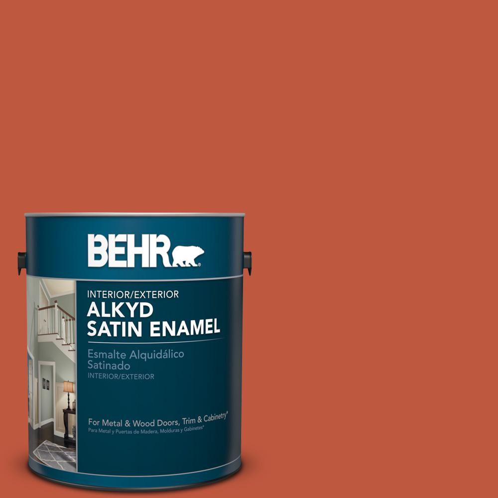 1 gal. #M180-7 Deep Fire Satin Enamel Alkyd Interior/Exterior Paint