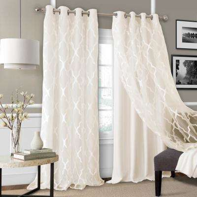 Elrene Bethany Blackout with Sheer Overlay Single Window Panel in Ivory - 52 in. W x 95 in. L