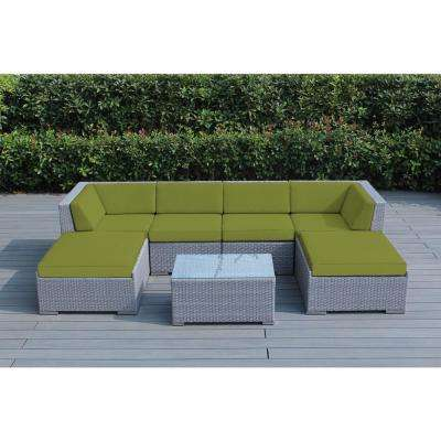 Ohana Gray 7-Piece Wicker Patio Seating Set with Spuncrylic Peridot Cushions