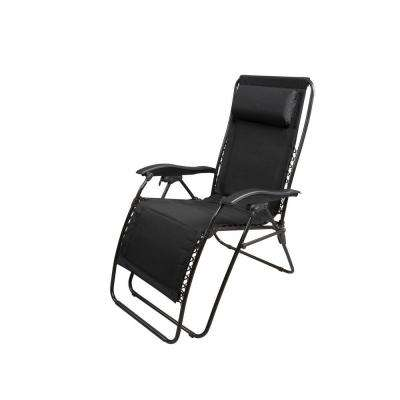 Zero Gravity Black Padded Patio Chaise Lounger