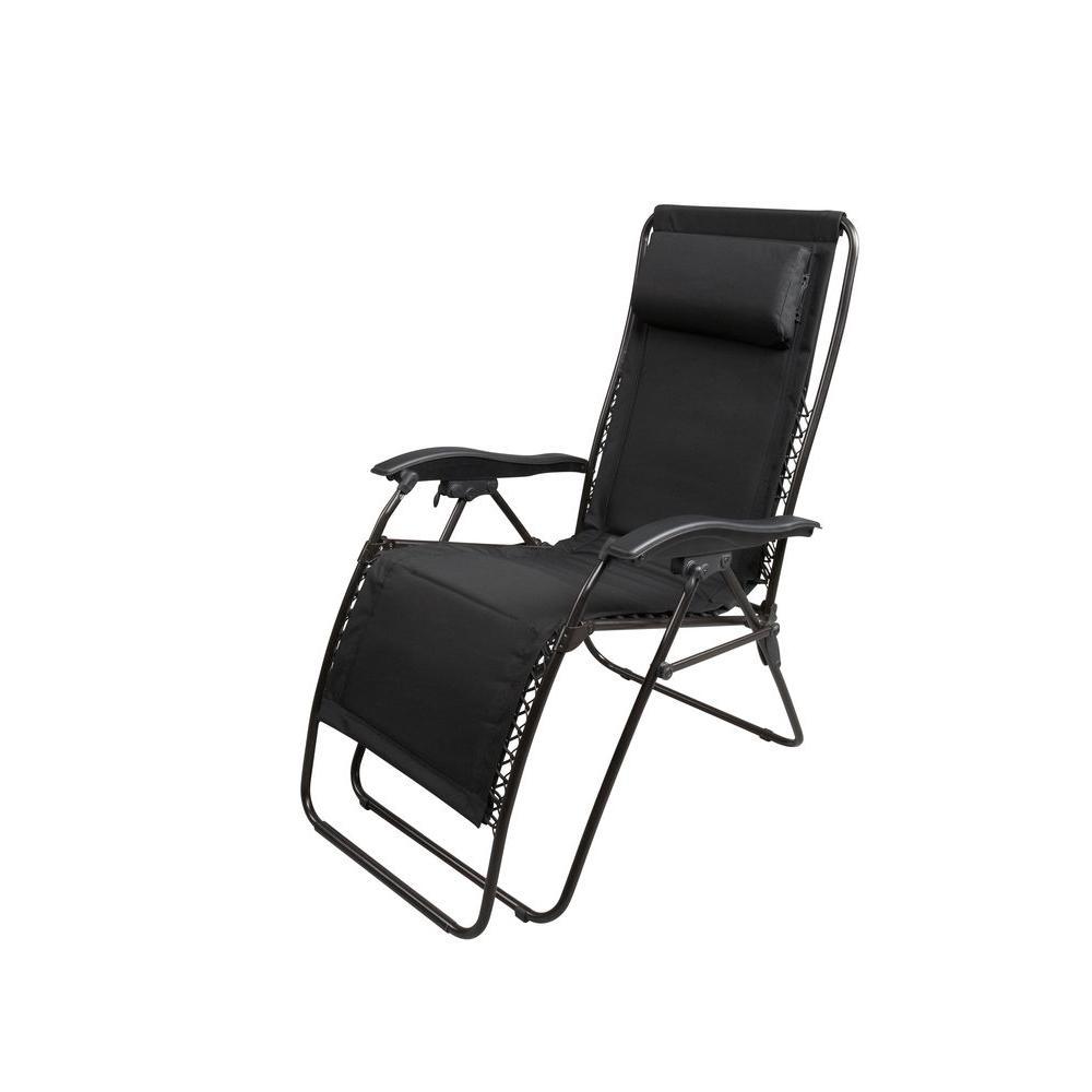 Zero Gravity Black Padded Patio Chaise Lounger