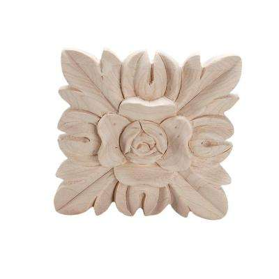 2-1/2 in. x 2-1/2 in. x 1/2 in. Unfinished Hand Carved North American Solid Hard Maple Wood Onlay Floral Wood Applique