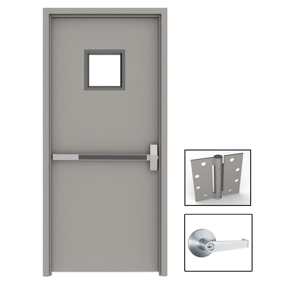 36 in. x 84 in. Gray Flush Exit with 10x10 VL