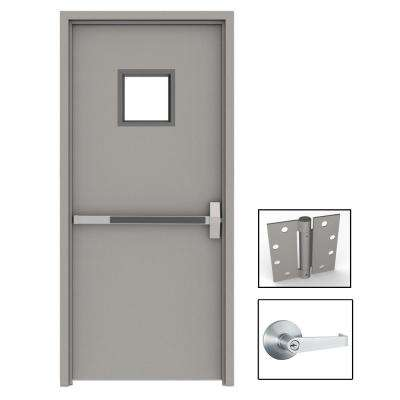 36 in. x 80 in. Gray Flush Exit with 10x10 VL Left-Hand Fireproof Steel Prehung Commercial Door with Welded Frame