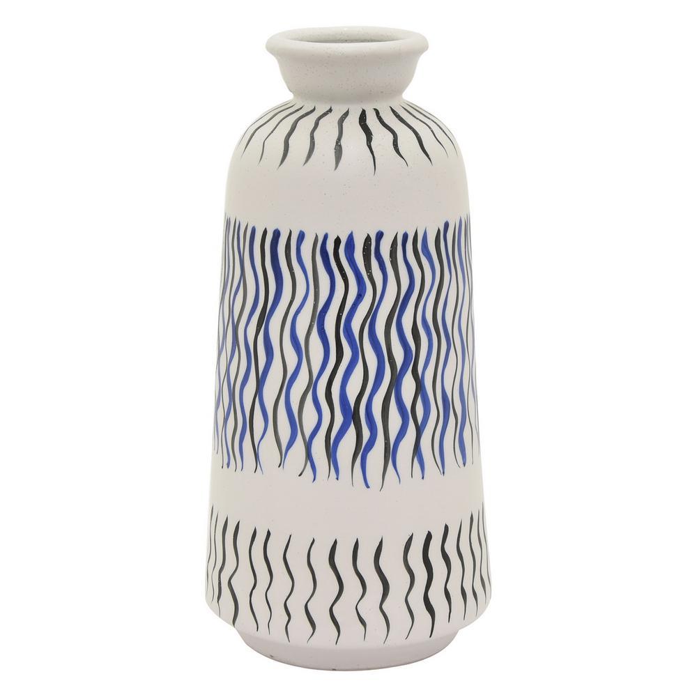 13 in. Blue Ceramic Vase