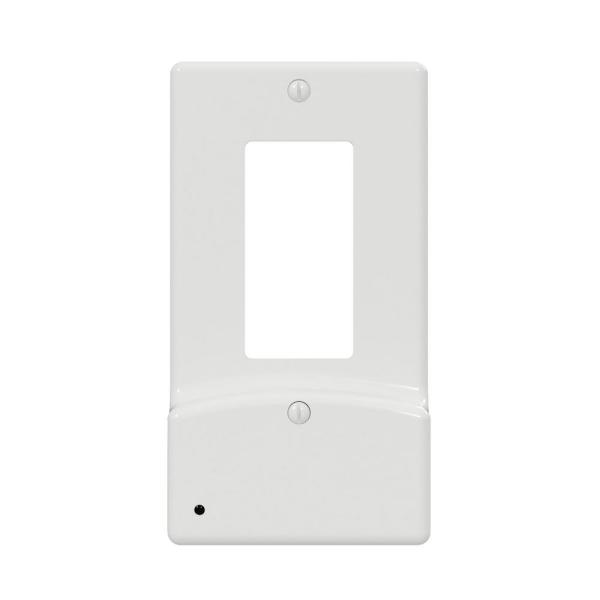 Classic Decor 1 Gang Decor Plastic Wall Plate with nightlight and USB Outlets - White