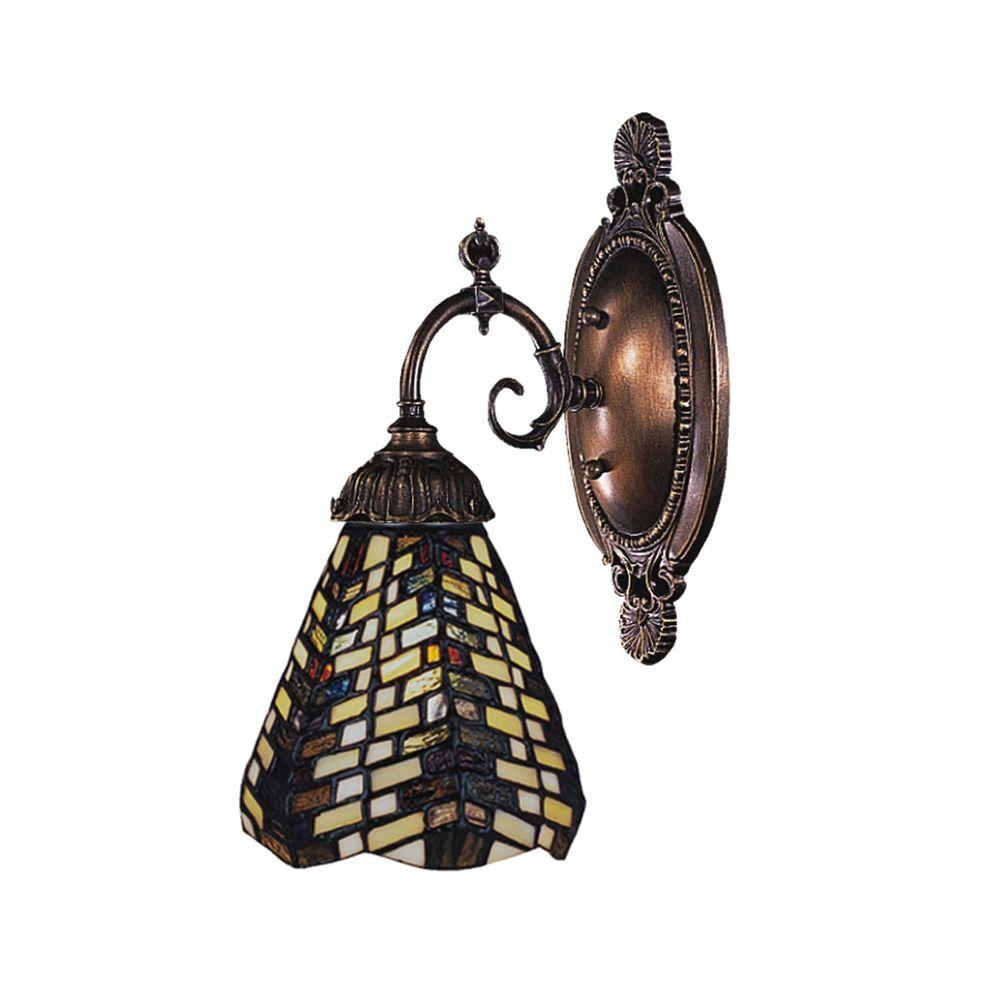 Titan Lighting 1-Light Tiffany Bronze Wall Sconce